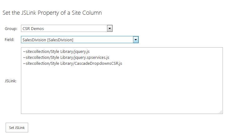 Page to Set JSLink Property on Site Columns