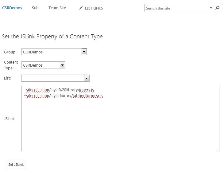 Set JSLink on Content Type Form