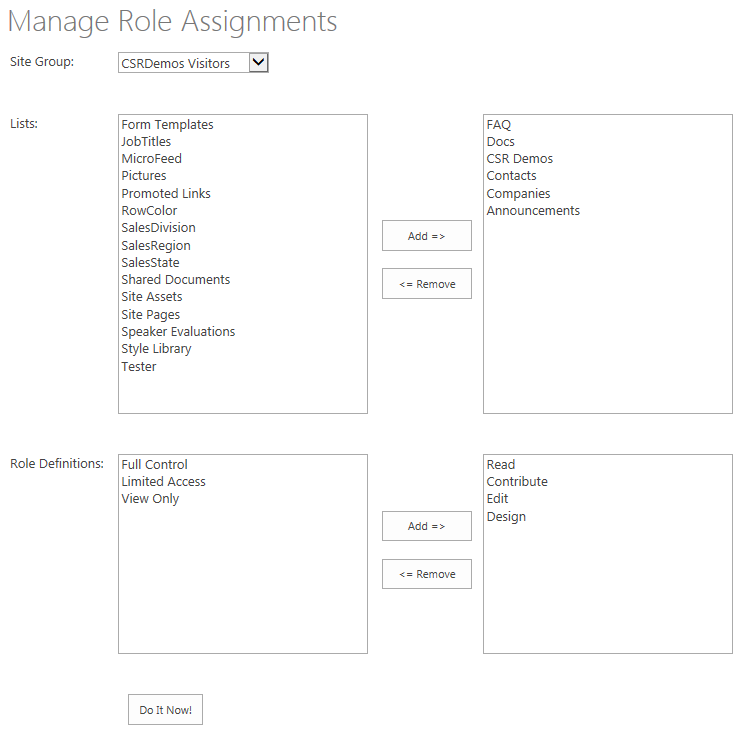 Manage Role Assignments Interface