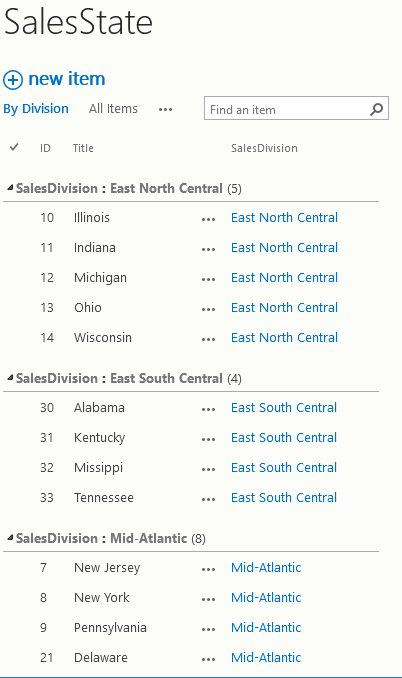 The SalesState list.