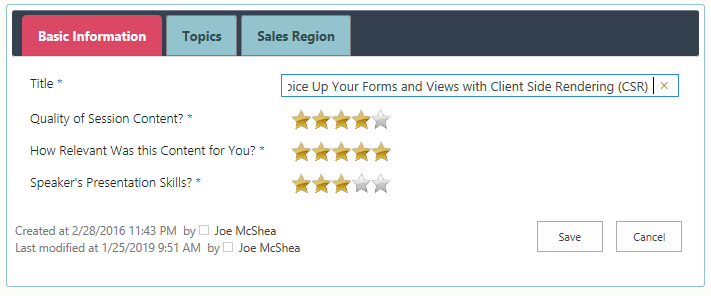 A form with star ratings