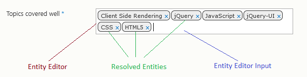 Rendered HTML for an Entity Editor