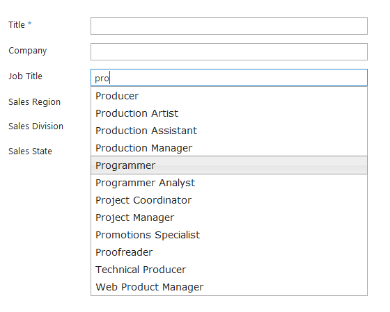Job Title with Autocomplete